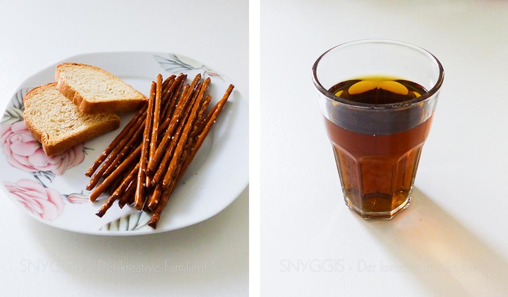 Salzstangen, Zwieback und Tee