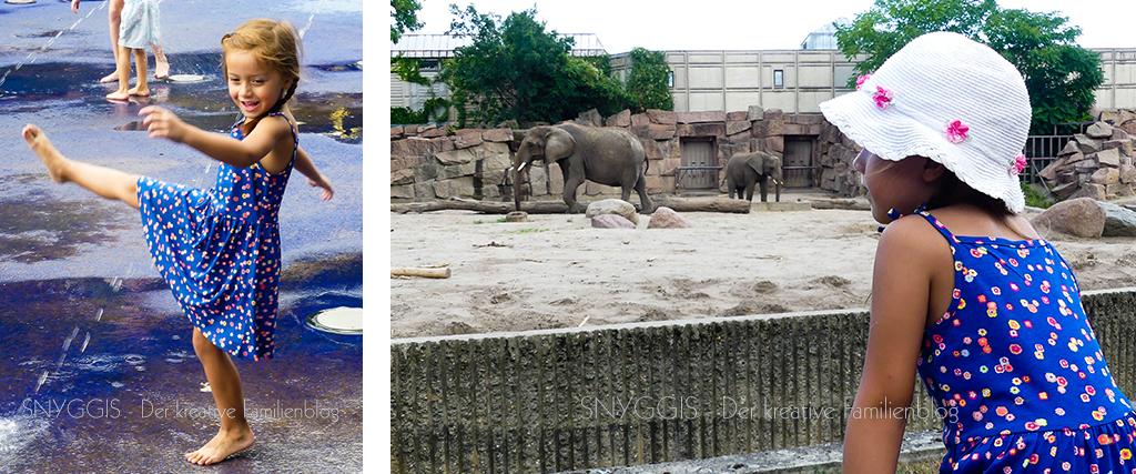 Elefanten und Wasserspielplatz