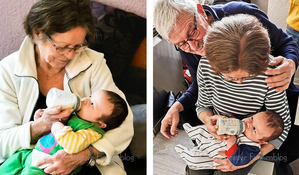 Oma füttert den Kleinen