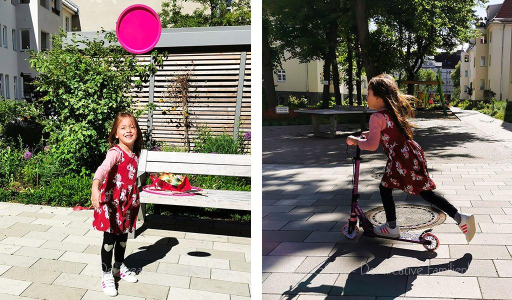 Frisbee-und-Roller-fahren